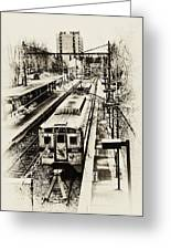 Outbound Train Greeting Card