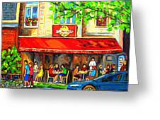 Outdoor Cafe On St. Denis In Montreal Greeting Card