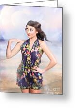 Outdoor Fashion Portrait. Spring Twilight Beauty Greeting Card