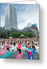 Outdoor yoga class market square pittsburgh pennsylvania poster by outdoor yoga class market square pittsburgh pennsylvania greeting card m4hsunfo