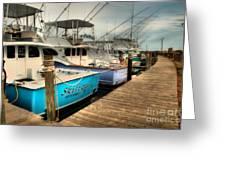 Outer Banks Fishing Boats Waiting Greeting Card