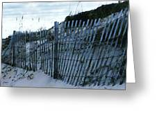 Outer Banks Nc Blue Fence Greeting Card