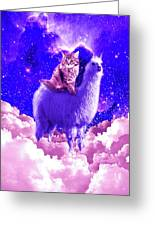 Outer Space Galaxy Kitty Cat Riding On Llama Greeting Card