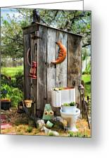 Outhouse In The Garden Greeting Card