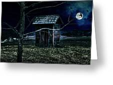 Outhouse In The Moonlight With Flying Crows Greeting Card