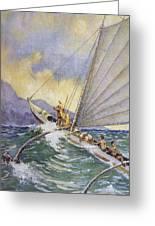 Outrigger At Sea Greeting Card