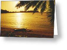 Outrigger At Sunset Greeting Card