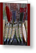 Outrigger Canoe Boats And Water Reflection Greeting Card by Ben and Raisa Gertsberg