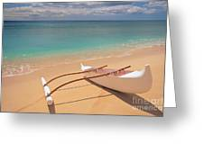 Outrigger On Beach Greeting Card