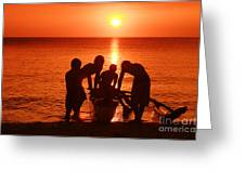 Outrigger Sunset Silhouet Greeting Card