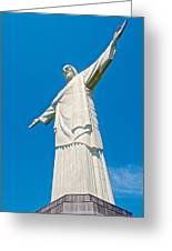 Outstretched Arms Of Christ The Redeemer Icon On Corcovado Mountain In Rio De Janeiro-brazil  Greeting Card