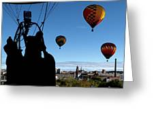 Over Auburn And Lewiston Hot Air Balloons Greeting Card