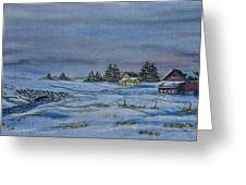 Over The Bridge And Through The Snow Greeting Card by Charlotte Blanchard