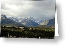 Over The Fence To Dusted Mountains Greeting Card