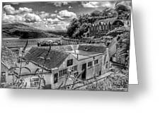 Over The Rooftops At Portree In Greyscale 2 Greeting Card