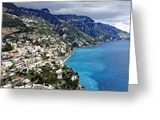 Overall View Of Part Of The Amalfi Coast In Italy Greeting Card