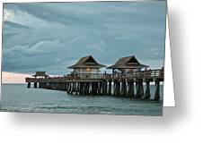 Clouds Over The Naples Pier Greeting Card