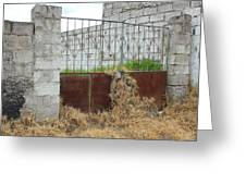 Overgrown Rusted Gate Greeting Card