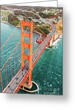 Overhead Aerial Of Golden Gate Bridge, San Francisco, Usa Greeting Card
