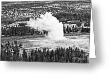 Overhead View Of Old Faithful Erupting. Greeting Card