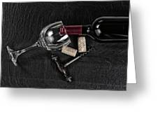 Overhead View Of Vintage Corkscrew With Red Wine Bottle And Glas Greeting Card