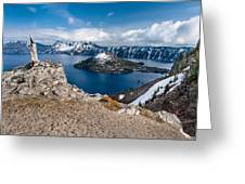 Overlooking Wizard Island In Spring Greeting Card
