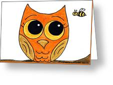 Owl And Bee Greeting Card
