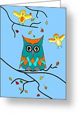 Owl And Birds - Whimsical Greeting Card