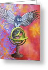Owl And Star Map Greeting Card