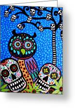 Owl And Sugar Day Of The Dead Greeting Card by Pristine Cartera Turkus
