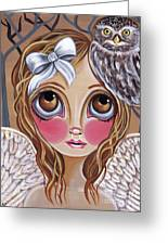 Owl Angel Greeting Card by Jaz Higgins