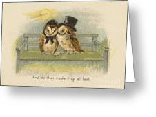 Owl Couple On Bench Greeting Card