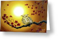 Owl In Autumn Glow Greeting Card