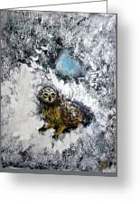 Owl On Snowy Afternoon Greeting Card