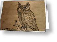 Owl Pyrography Greeting Card