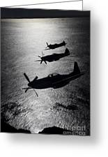 P-51 Cavalier Mustang With Supermarine Greeting Card
