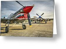 P40 Warhawk And P51d Mustang On The Ramp Greeting Card