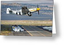P51 Mustang Little Horse Gear Coming Up Friday At Reno Air Races 16x9 Aspect Signature Edition Greeting Card