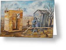 Pa Builds A New Outhouse Greeting Card