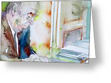 Pablo Neruda - Watercolor Portrait.8 Greeting Card