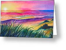 Pacific Evening Greeting Card by Karen Stark