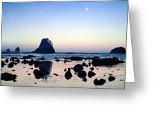 Pacific Moonset Greeting Card