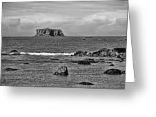 Pacific Ocean Coastal View Black And White Greeting Card
