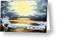 Pacific Ocean Storm Dreamy Mirage Greeting Card