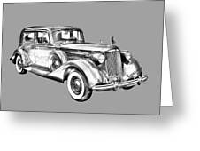 Packard Luxury Antique Car Illustration Greeting Card