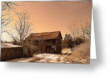 Packing Barn In Winter Greeting Card