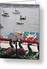 Paddleboats Waiting In The Inner Harbor At Baltimore Greeting Card