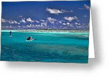 Paddling In Moorea Greeting Card by David Smith
