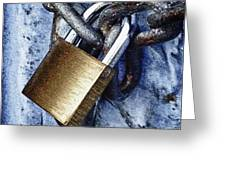 Padlock On A Chain Greeting Card