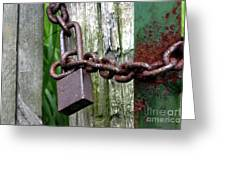 Padlocked Gate Greeting Card